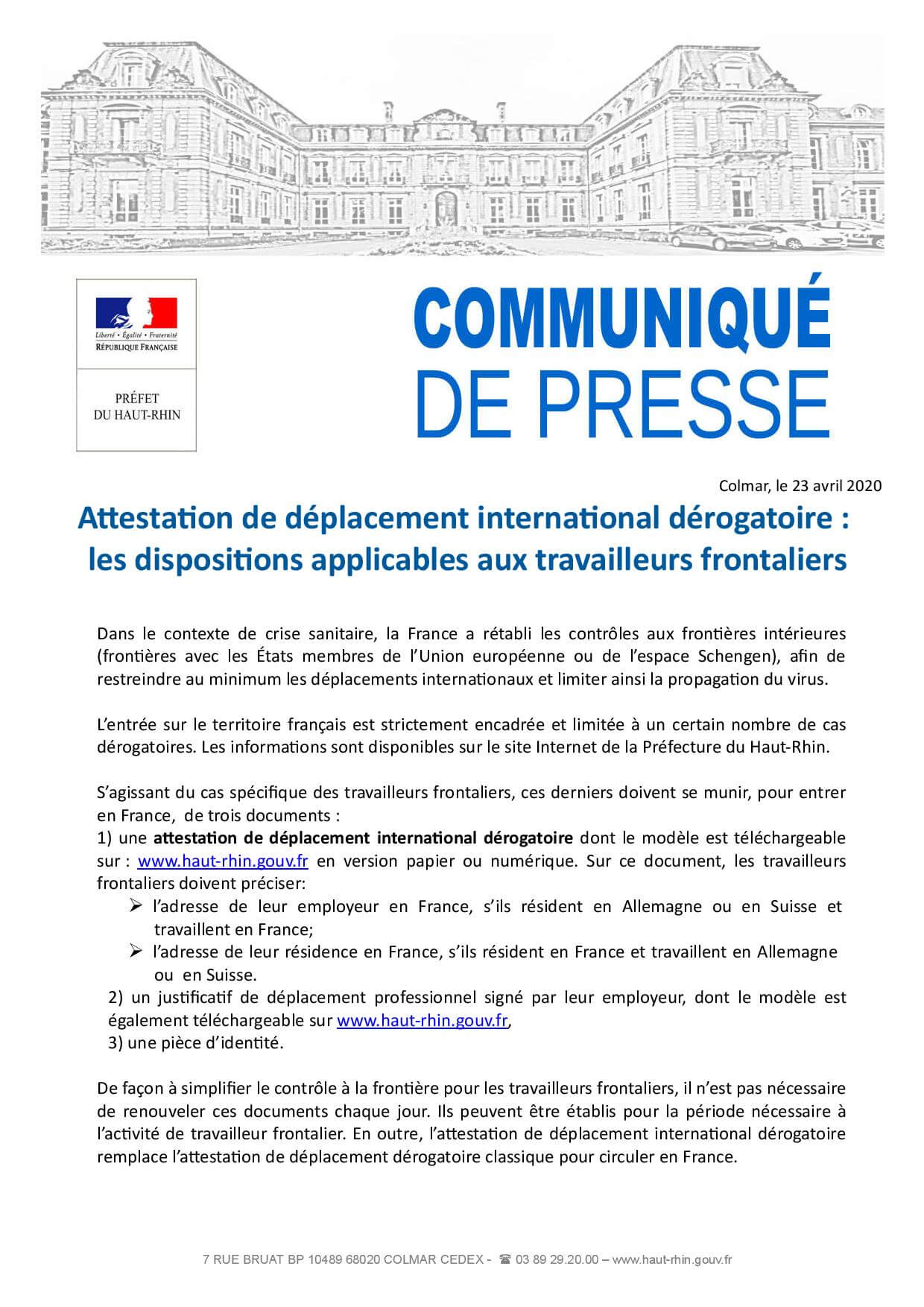 Proposition CP attestation de déplacement international dérogatoire